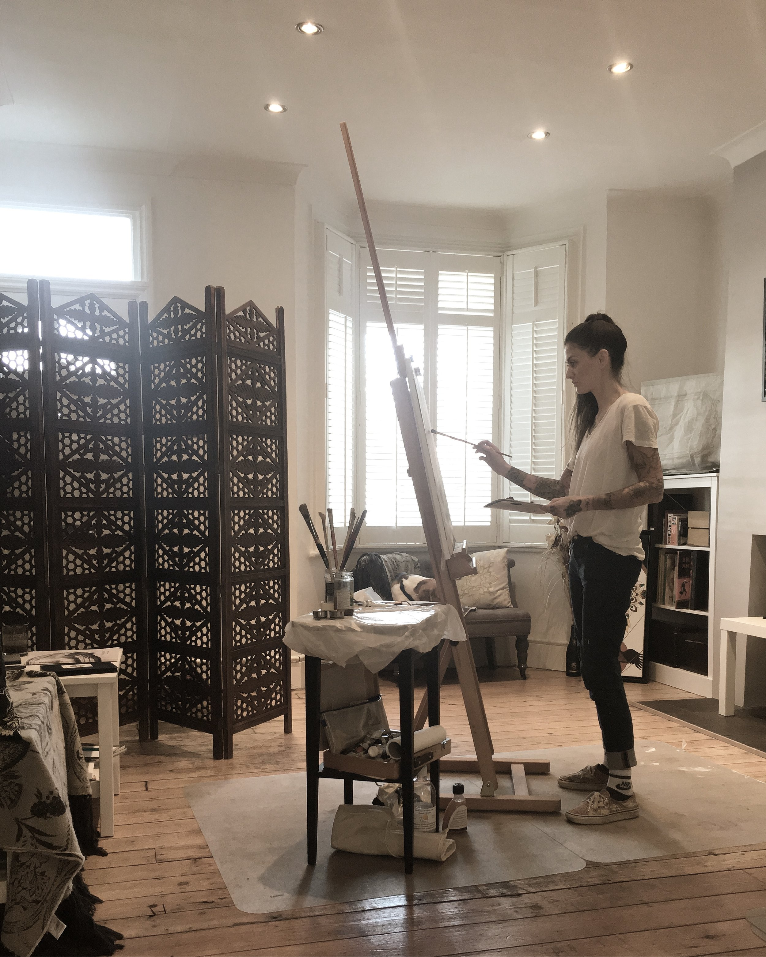 DOMINIQUE AT WORK IN HER EAST LONDON STUDIO