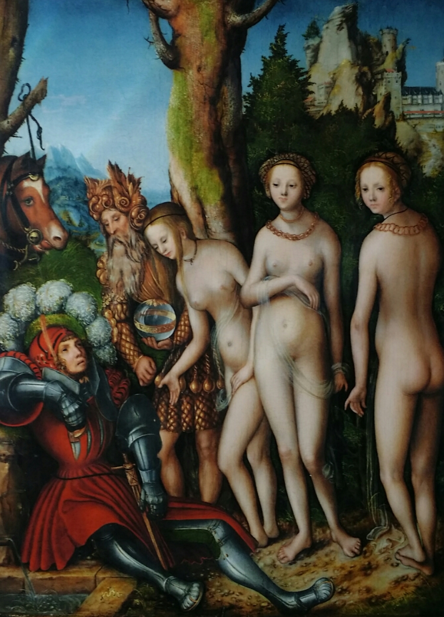 Lucas Cranach d.Ä., Das Urteil des Paris, Druck von Kunstkopie