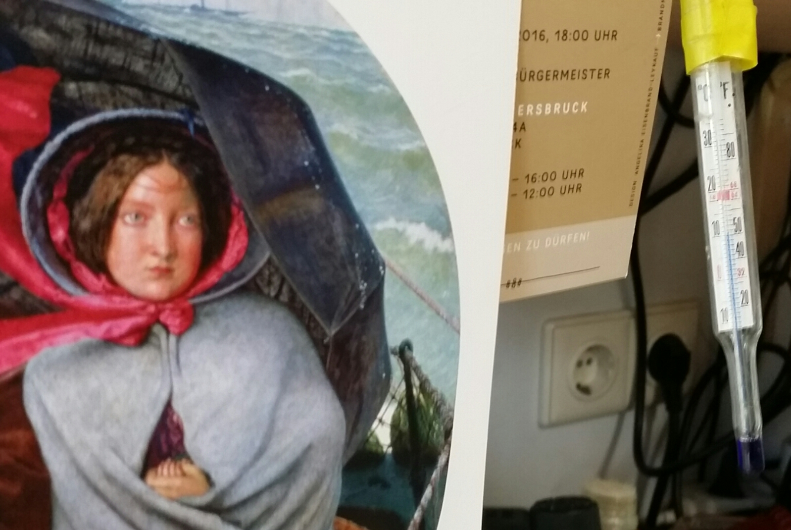 """Ford Madox Brown """"The Last of England"""", studio thermometer"""