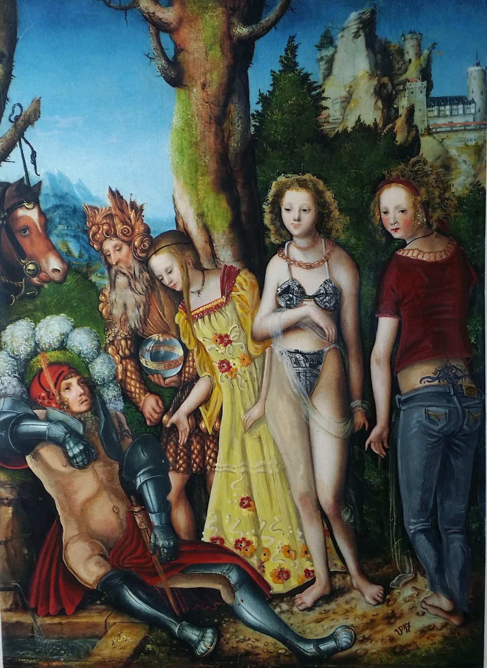 """""""Der Bachelor"""", Acryl/Gouache auf Cranach-Kunstdruck, 2017, 13 x 18 cm"""