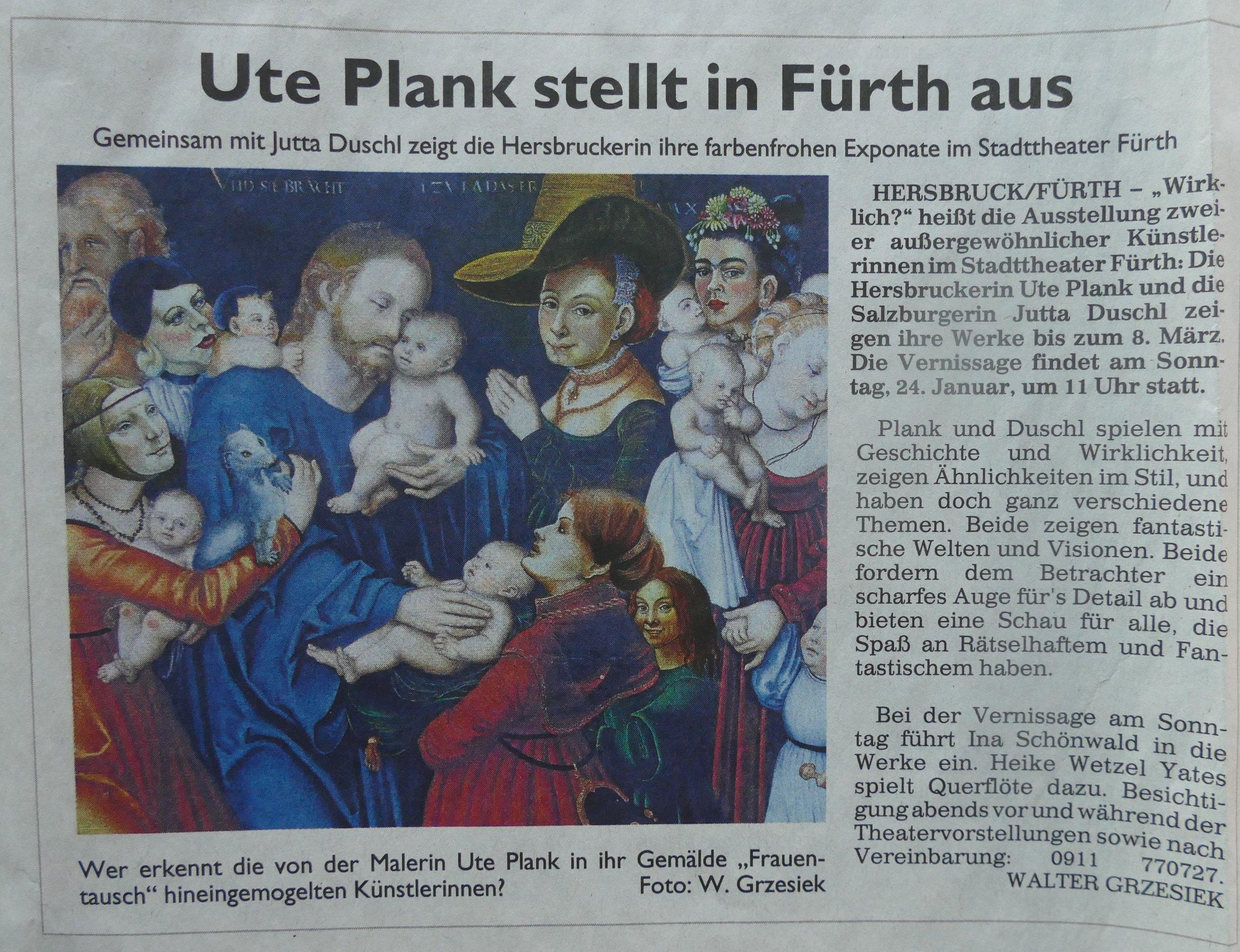 Ausstellen im Stadttheater Fürth- eine Ehre! Bericht: Walter Gresziek