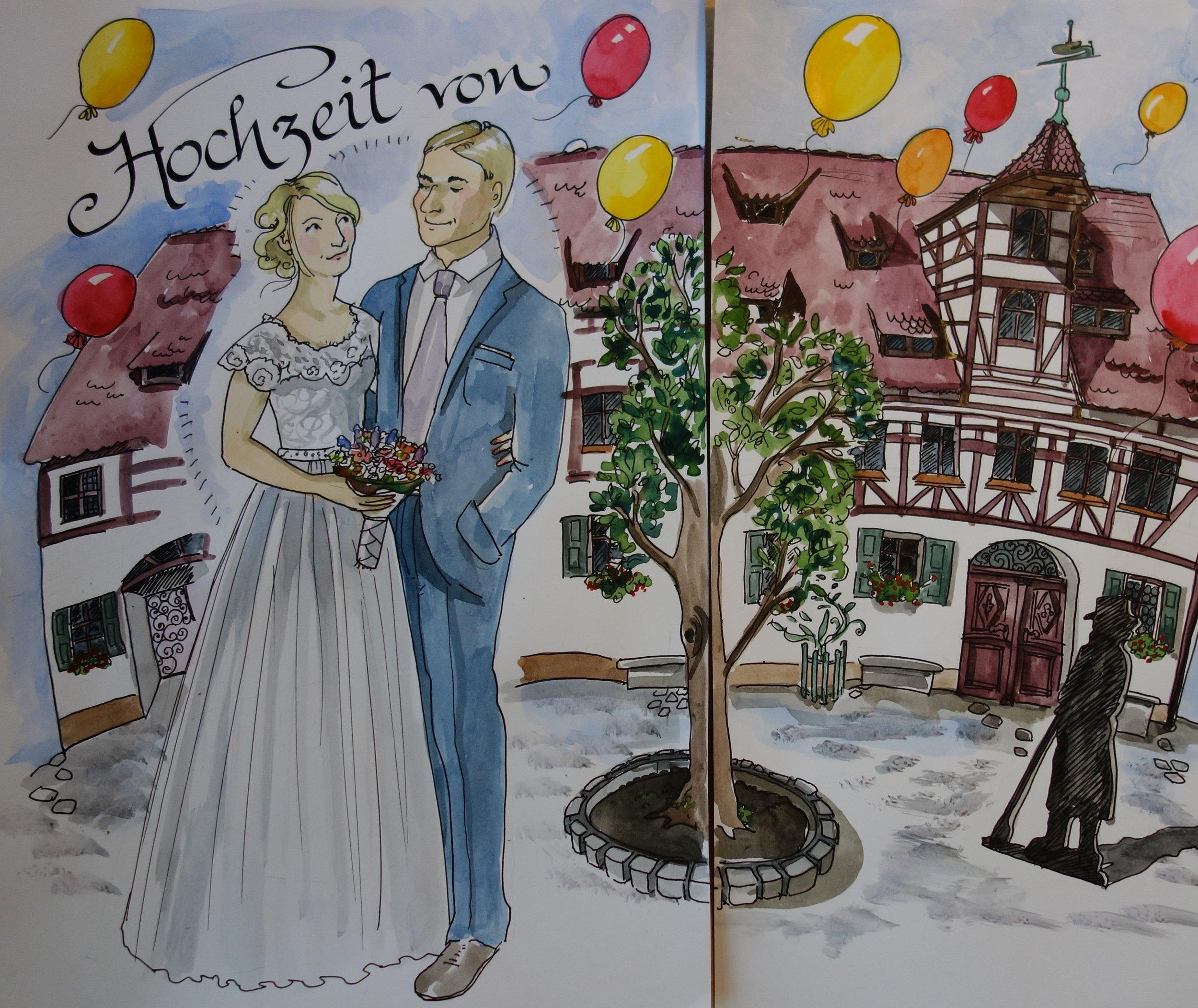 Mein Hauptbild: das Gebäude, in dem die Trauung stattfand, vorbereitet, das mir bis dato unbekannte Brautpaar eingesetzt...manuell... nicht mit Photoshop :) !