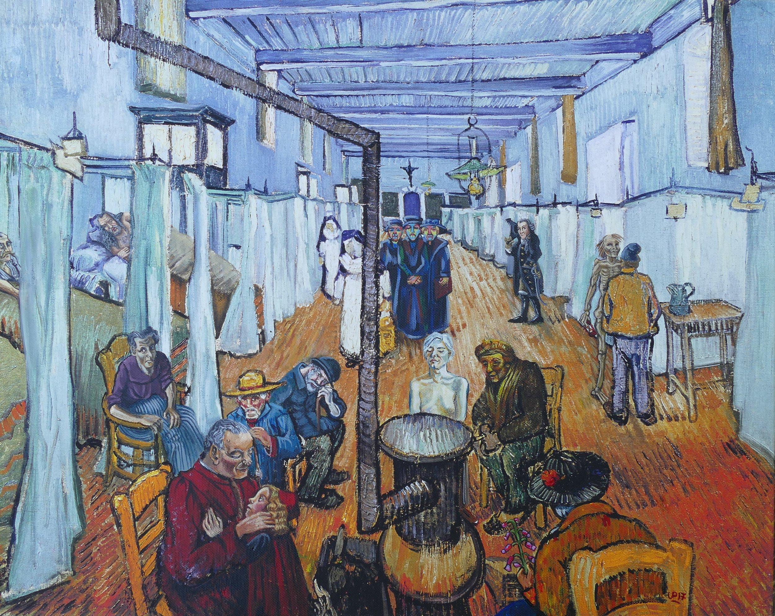 """""""Betreutes Wohnen"""", Acryl auf Kunstdruck von Vincent van Gogh"""