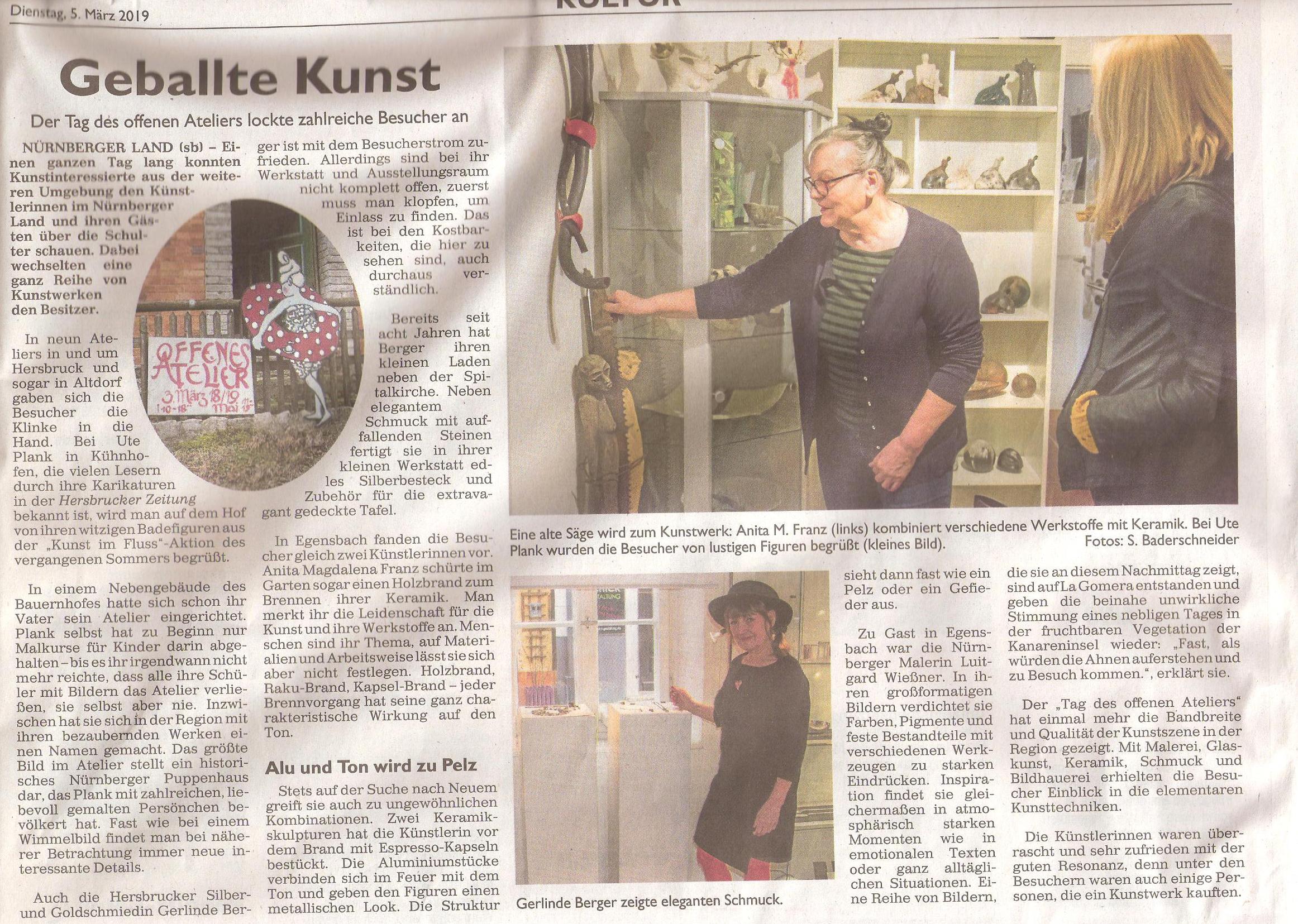 Hersbrucker Zeitung, 4. März 2019 Susanne Baderschneider