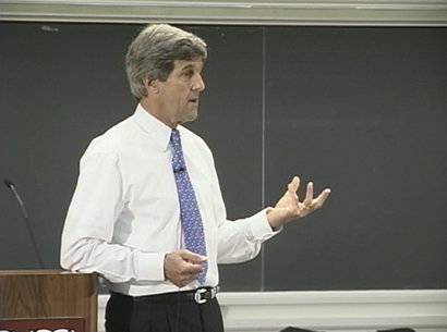 John Kerry addresses the high school teachers about government and politics.
