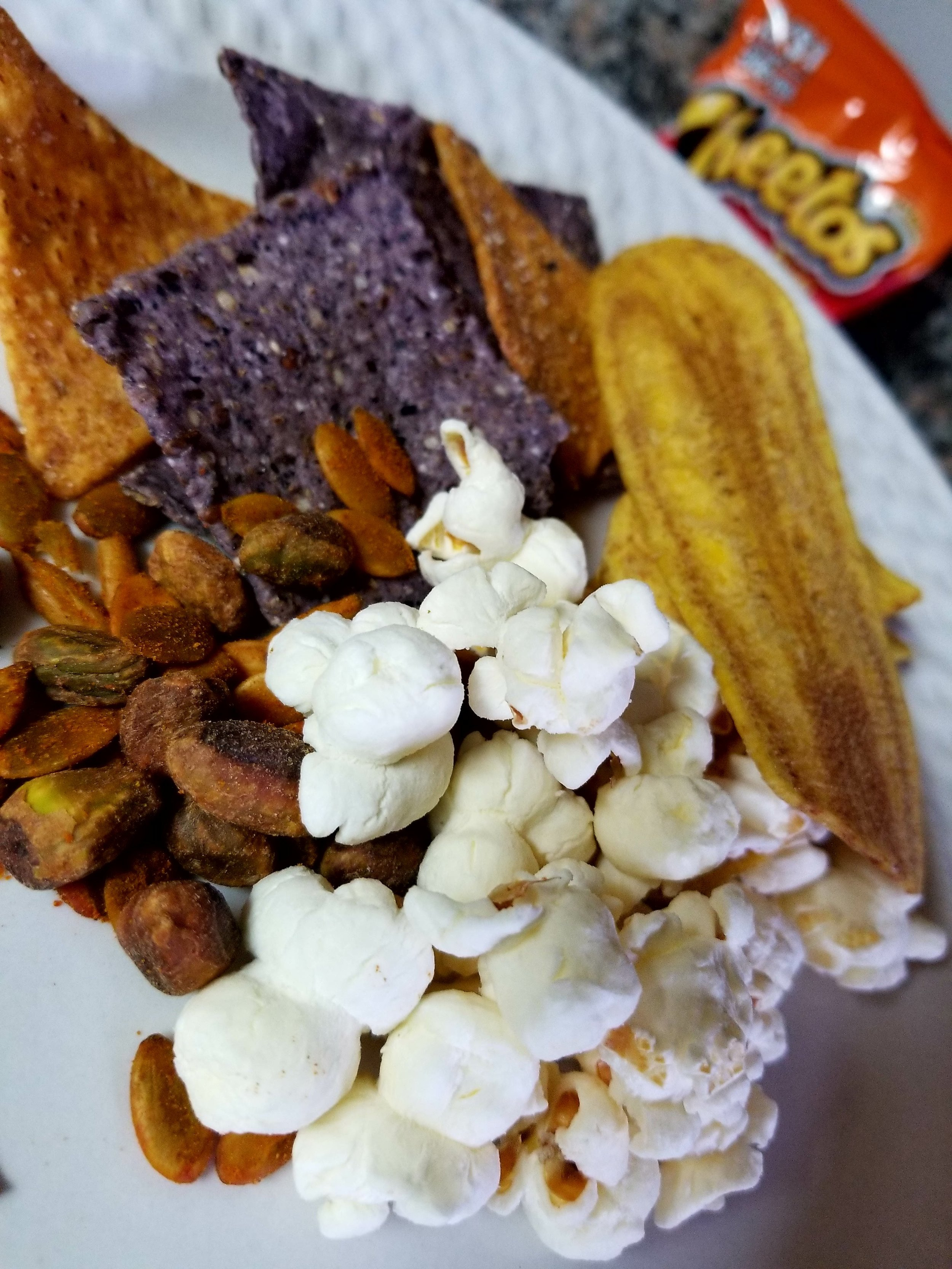 Real corn chips, bean chips, plantain chips, popcorn, and nuts and seeds are much better options that still give that salty crunch!