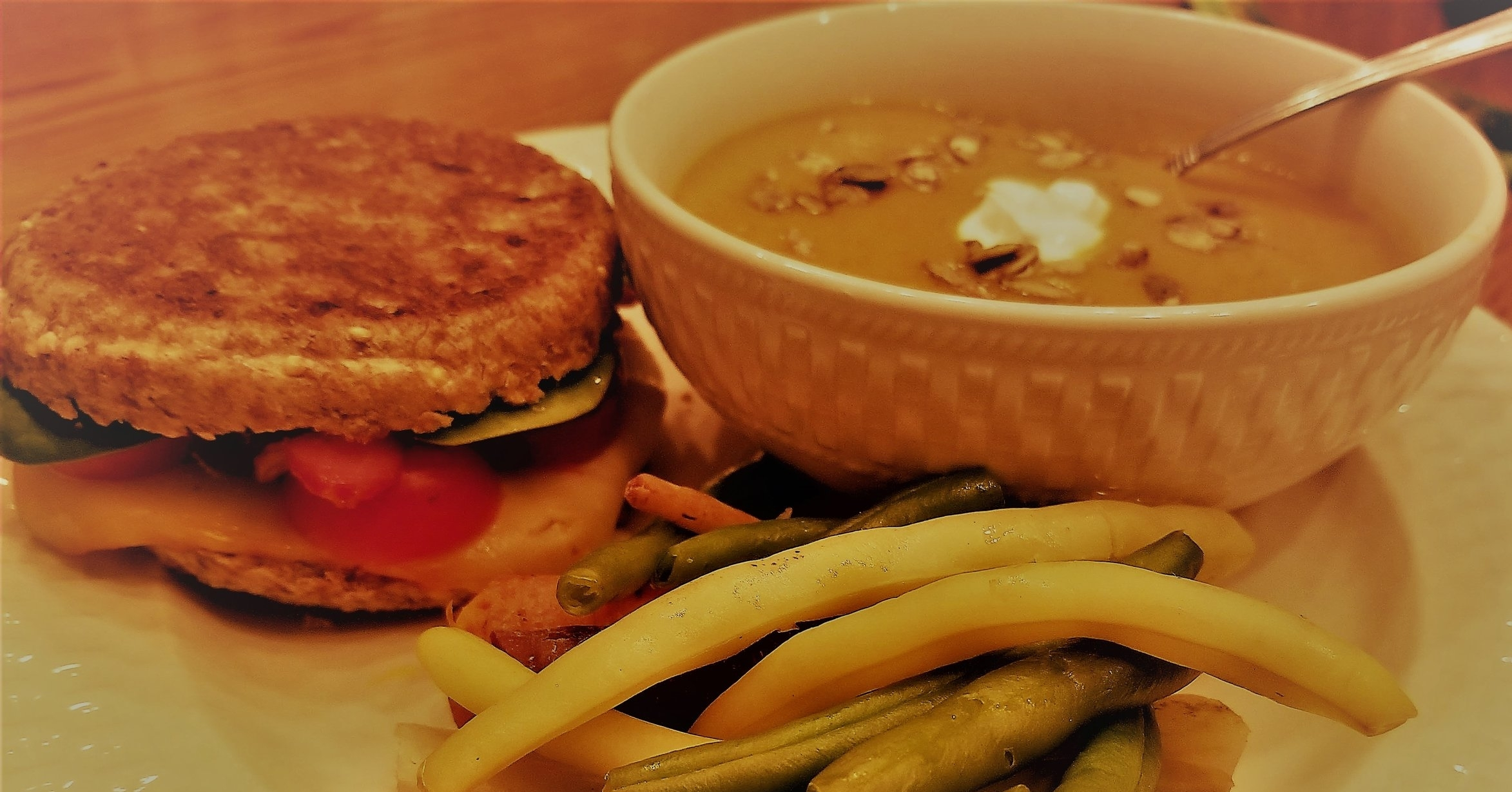 Grilled cheese, butternut squash soup (from a can - GASP!), and steamed green beans.