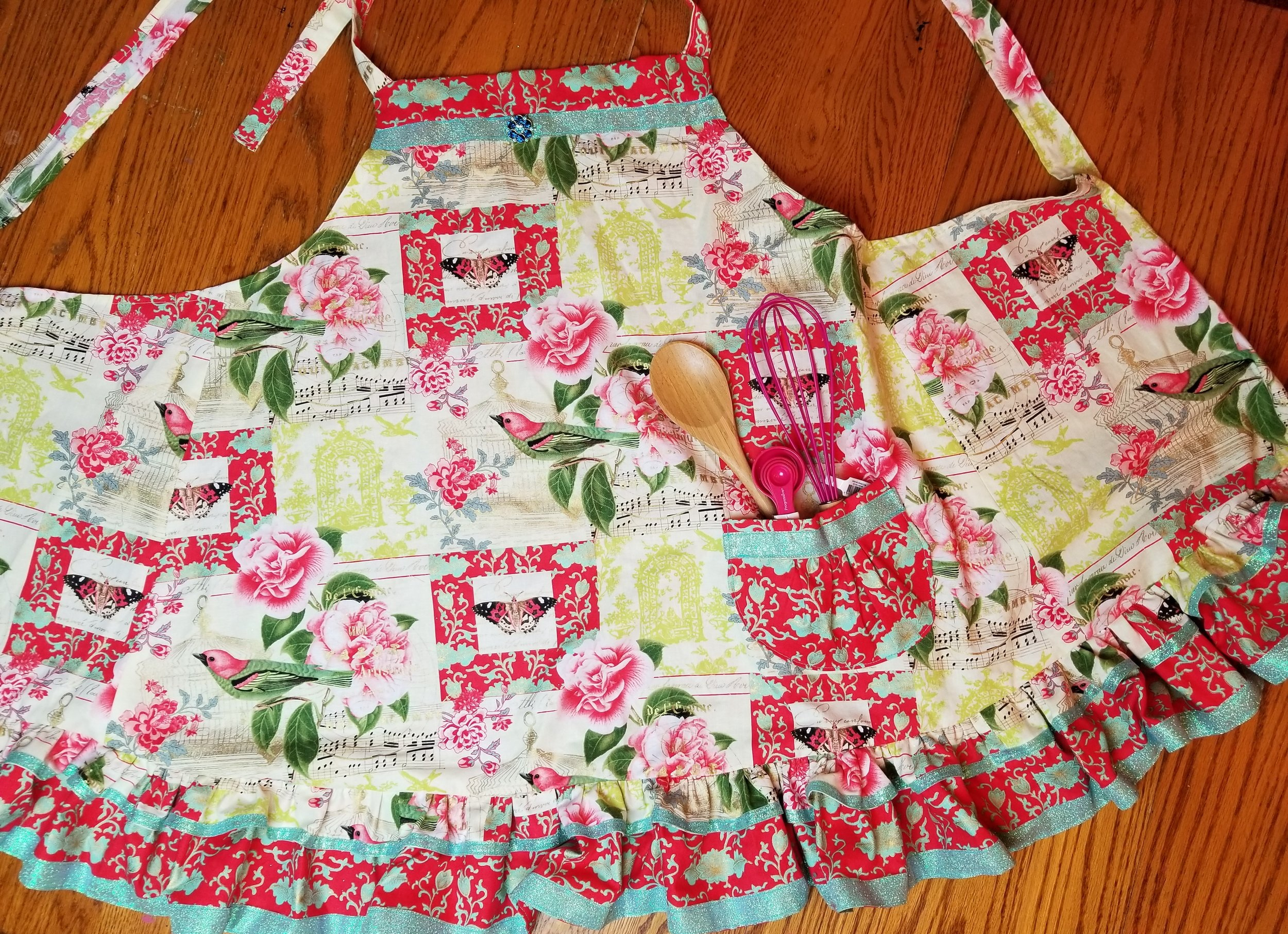 This beautiful spring bling apron could be YOURS!