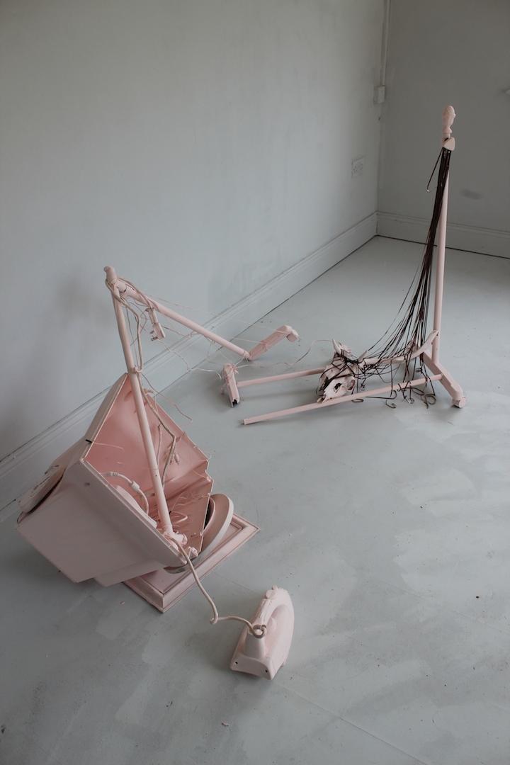 Rural Shame, mixed media (animal skull, analogue tape, phone, broken CD player, computer shell,wiring, clothes rail), 2017