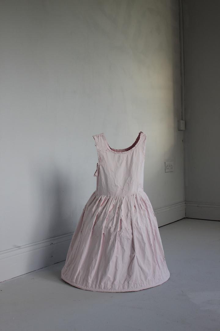 Forgotten child, mixed media (Fabric, pink paint), 2017