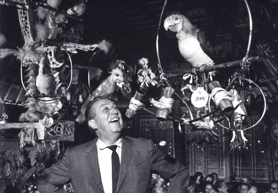 "Walt with the Audio Animatronics from the ""Enchanted Tiki Room"""