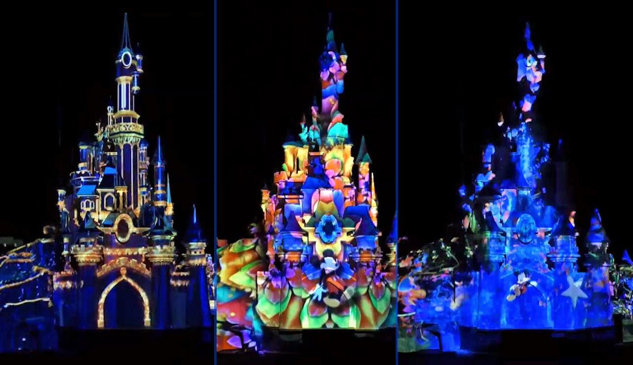 Cinderellas castle lights up each night with projection mapping