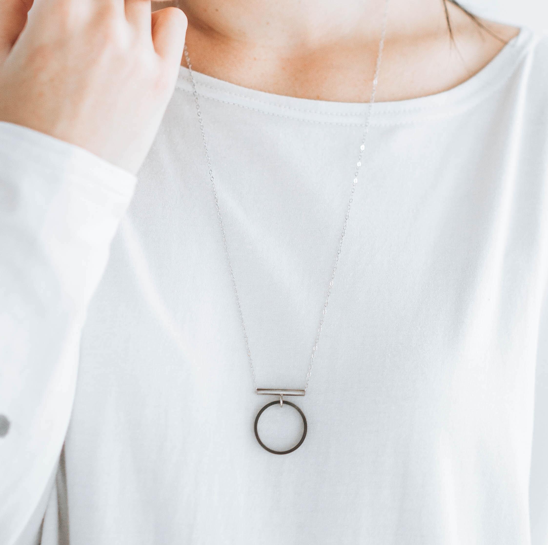 Black chain industrial geometric long necklace statement minimalist chain neklace