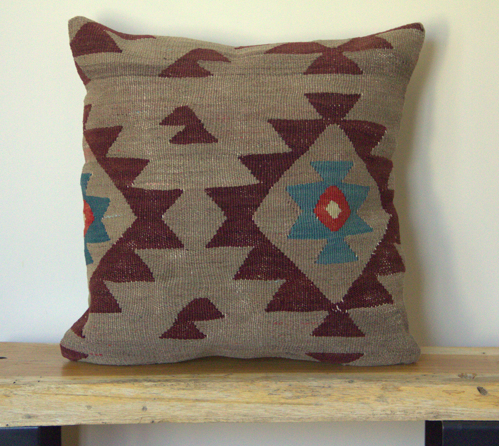 Kilim Pillow Cover - Re-purposed wool kilim. Front side wool, back side cotton.