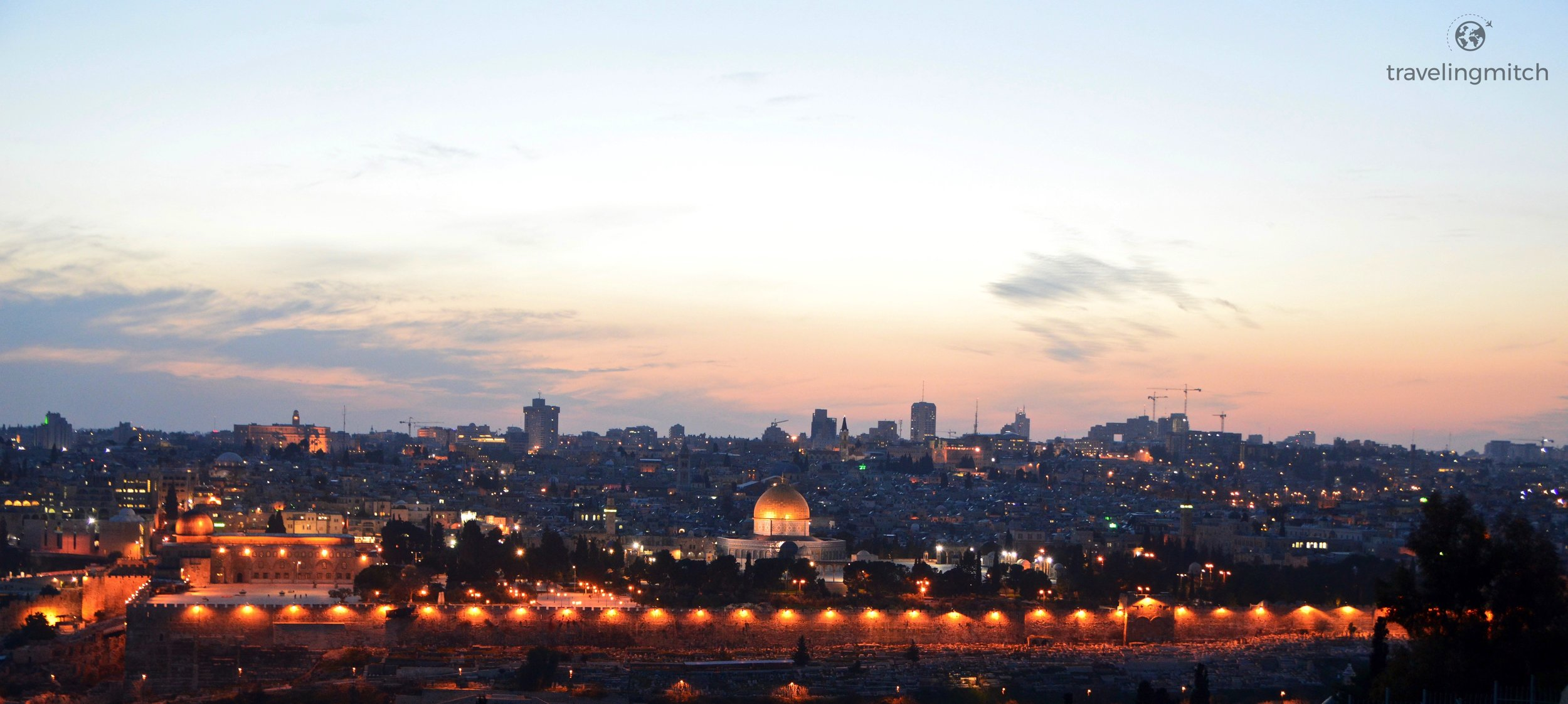 Views of the Old City from the Mount of Olives at dusk - Jerusalem, Israel