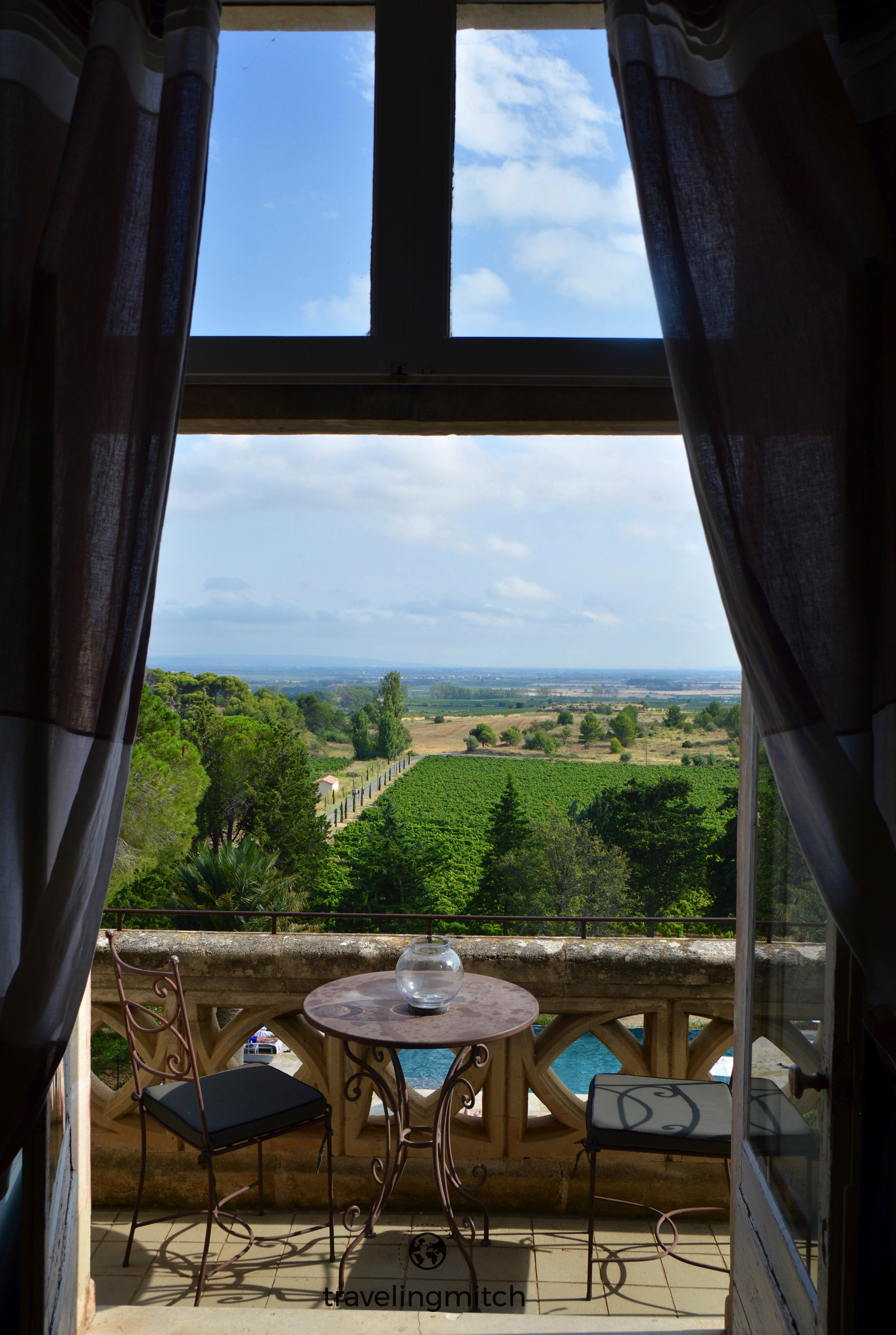 We stayed in the castle itself with views of the property of Château Les Carrasses