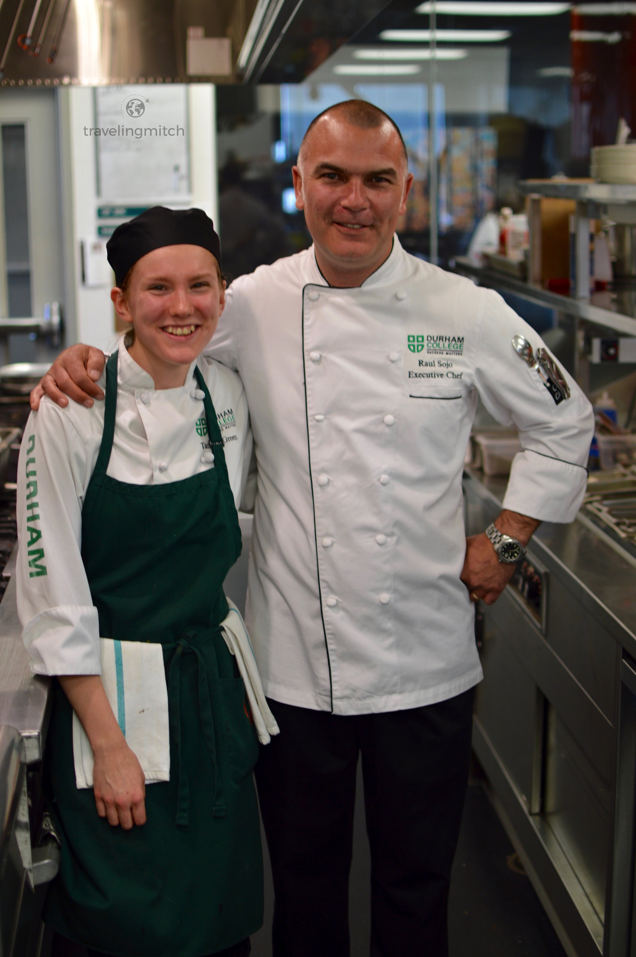 Raul Sojo, the executive chef of Bistro '67 with a Durham College student in tow.