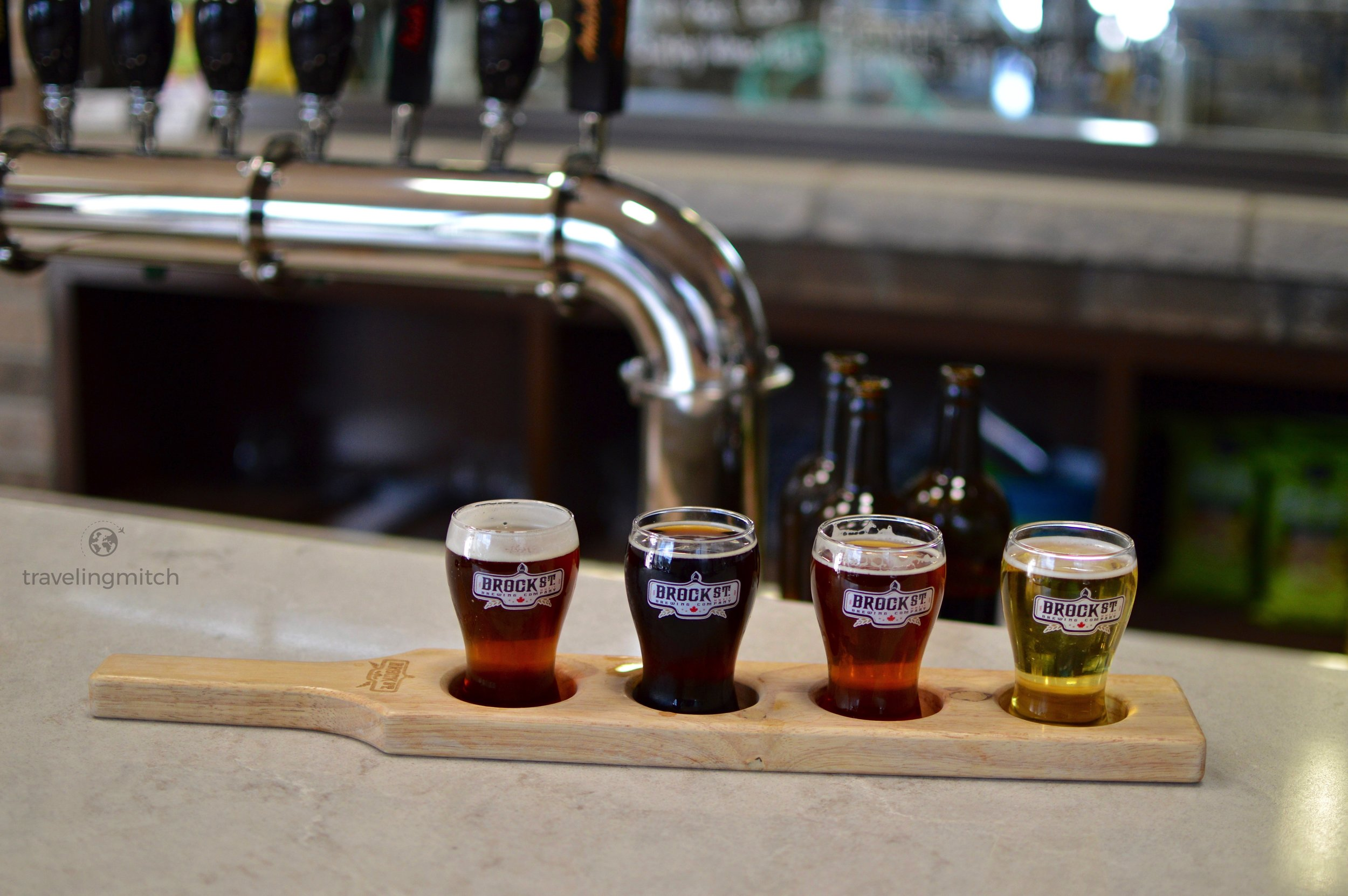 Brock St. Brewing Co. in Whitby, Ontario. From right to left - blonde, amber, Irish red, and pineapple express IPA.