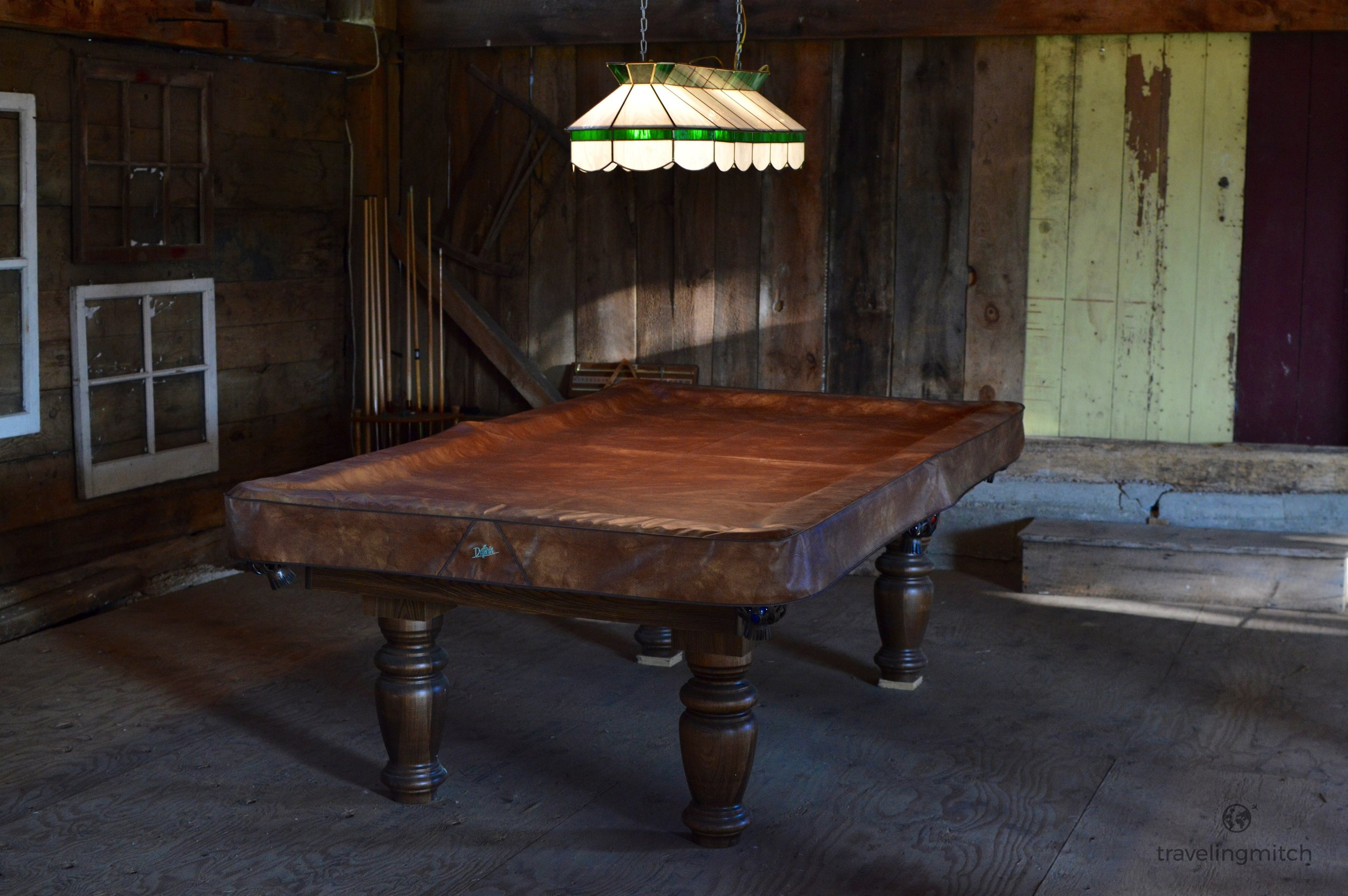 The pool table in the barn at Hayfield Farm near Orono, Ontario