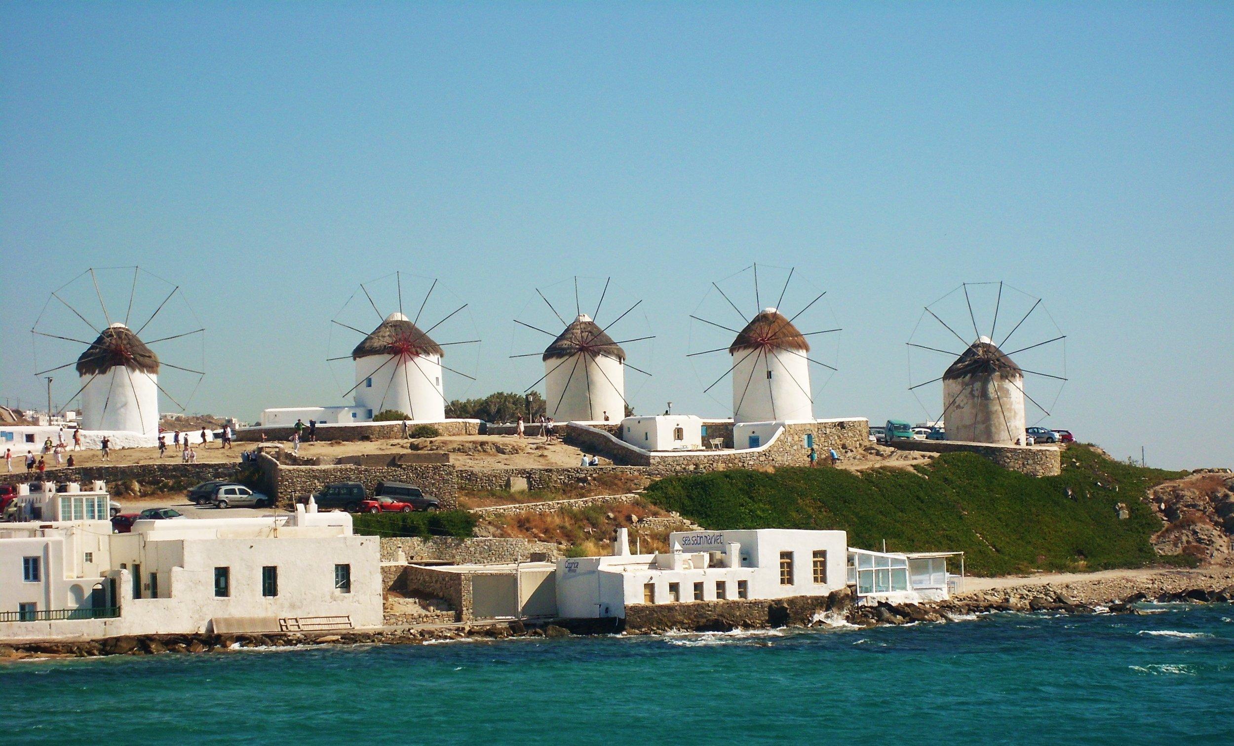 Windmills on Mykonos in Greece