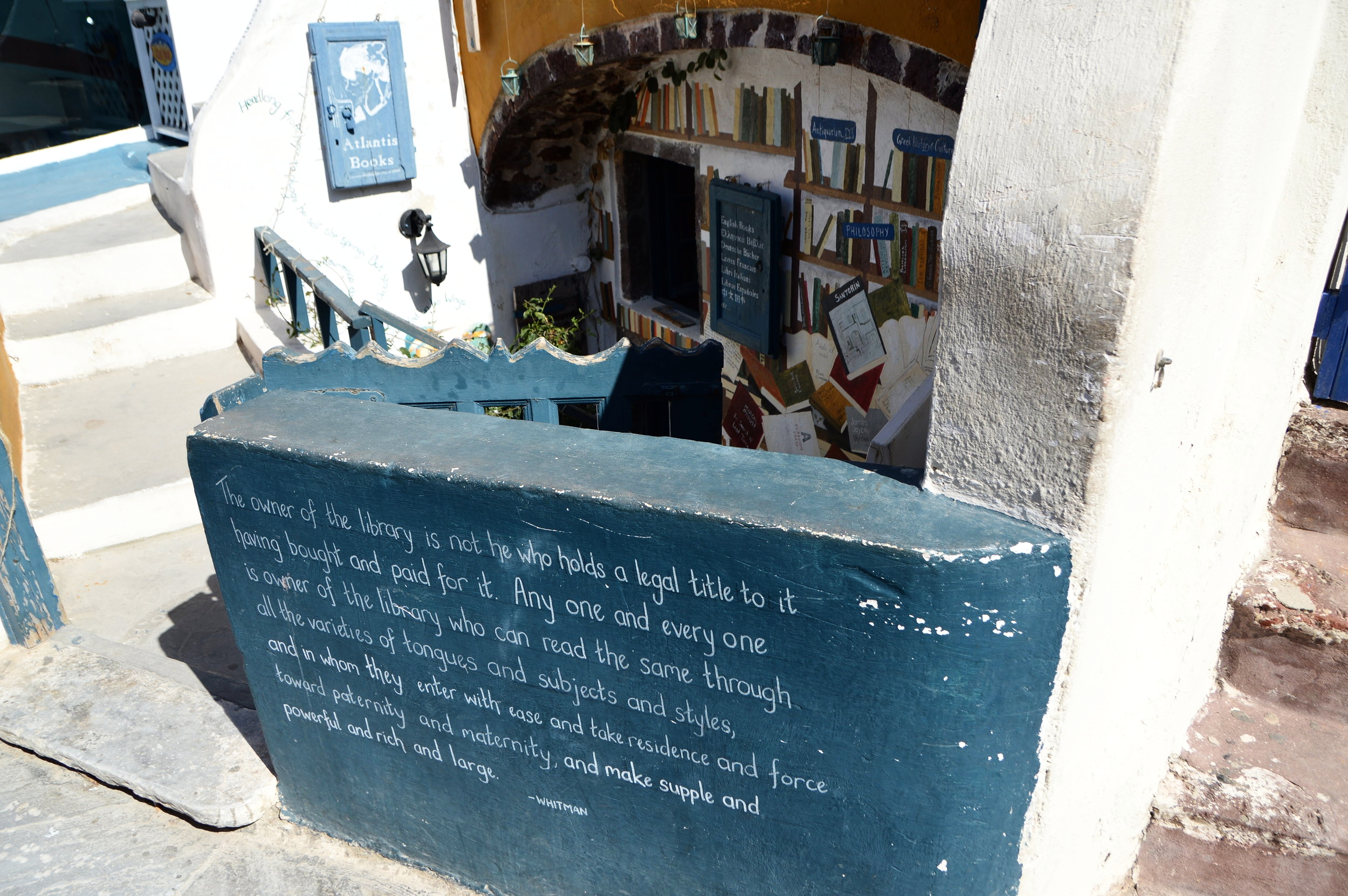 The quotes at this Santorini Bookshop, Atlantis Books, seperated it from the competition.