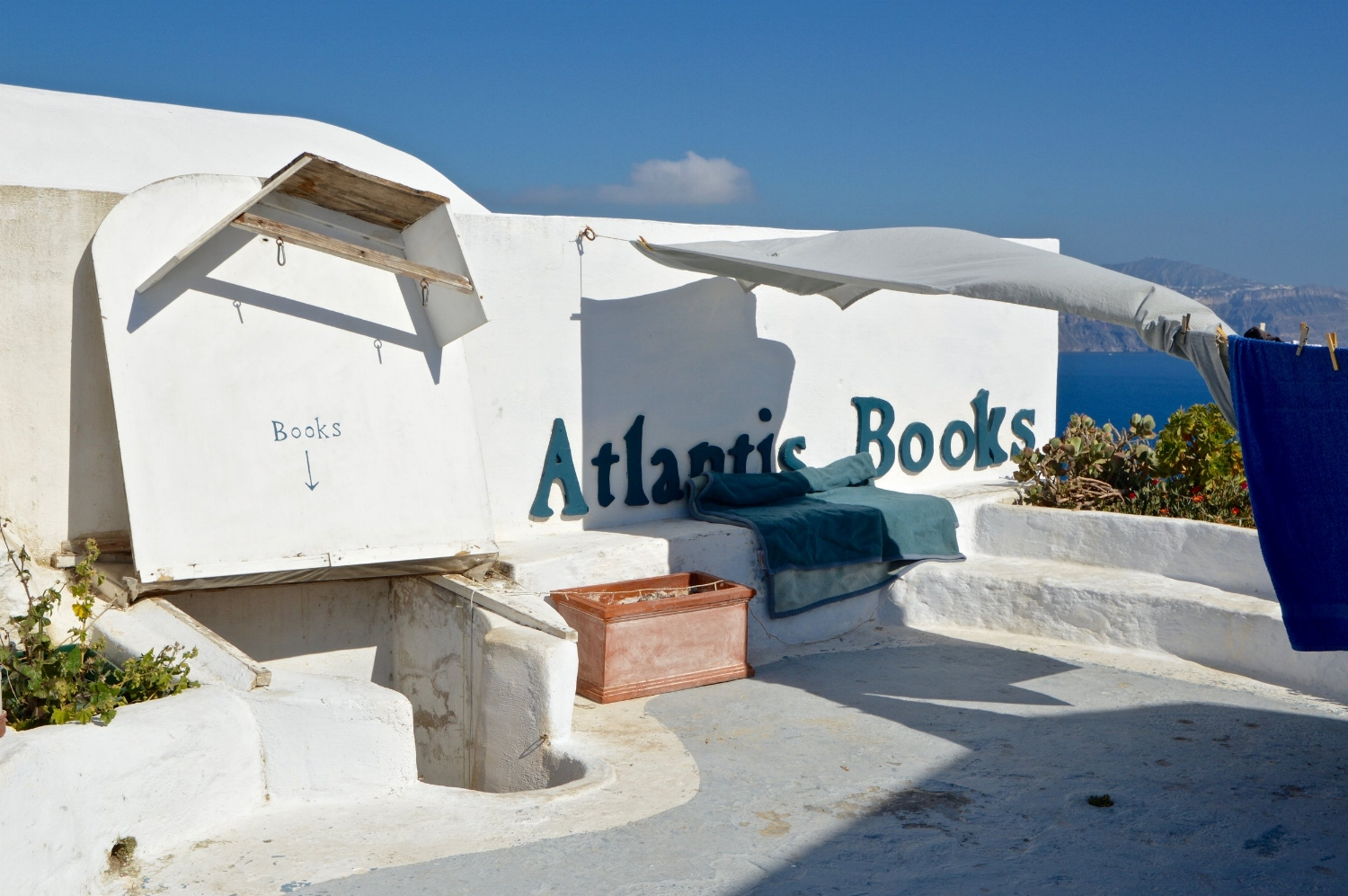 This Santorini Bookshop is the only bookstore I know where you can enter through the roof.