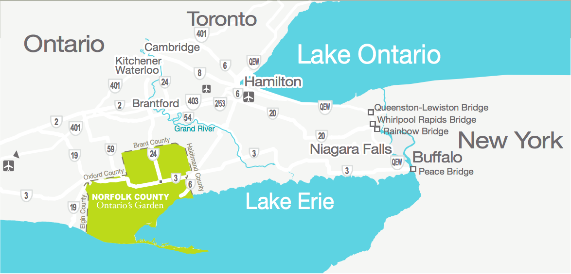 A Norfolk County Map in Ontario