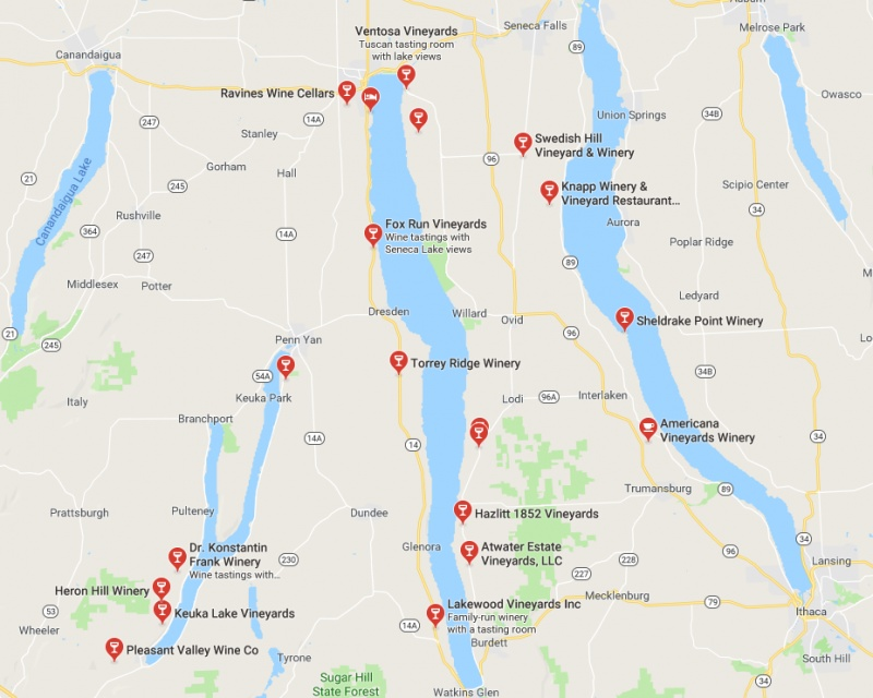 These are the four main Finger Lakes Wine Trails - The Canandaigua Lake Wine Trail, the Keuka Lake Wine Trail, the Seneca Lake Wine Trail, and the Cayuga Lake Wine Trail