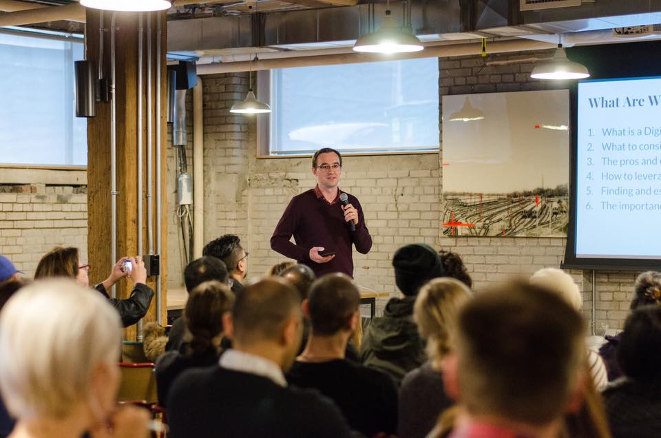 "Speaking about ""Being an Entrepreneur and Digital Nomad"" at an event held at WeWork by Eddy Travels"