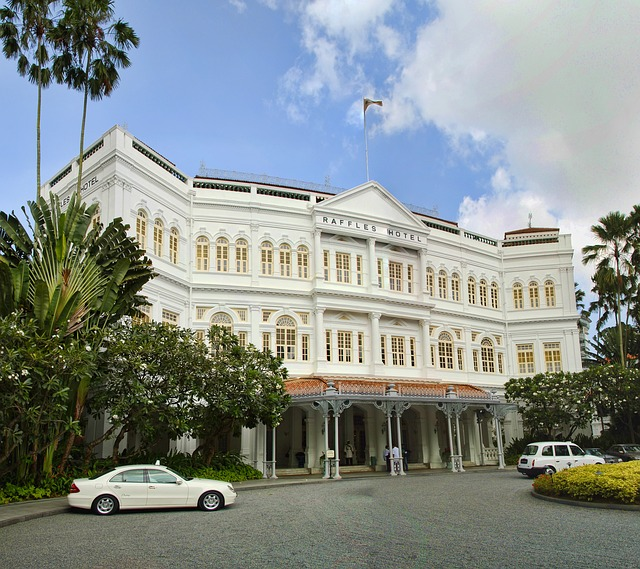This is the recently renovated Raffles Singapore, originally constructed in the late 19th century.