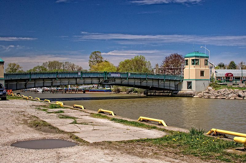 Photo of Port Stanley's King George VI Lift Bridge from the south. Photo courtesy of ©wikicommons user  phrawr