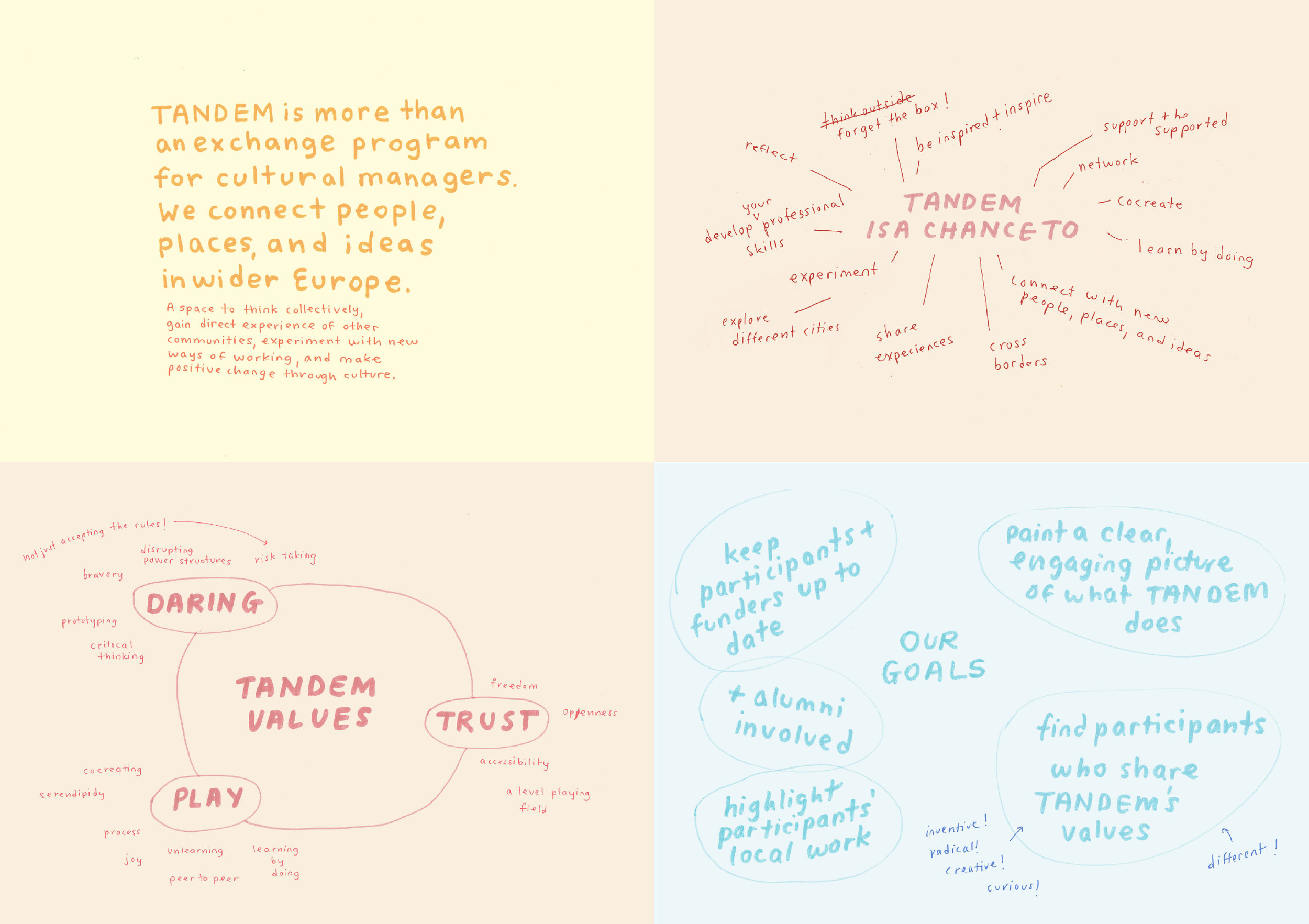 Analysis - Through group brainstorming, perspective development, pattern recognition, and key insights, we generated a strategy for communicating Tandem's mission and values. I produced a visual project planning toolkit defining the vision and priorities.