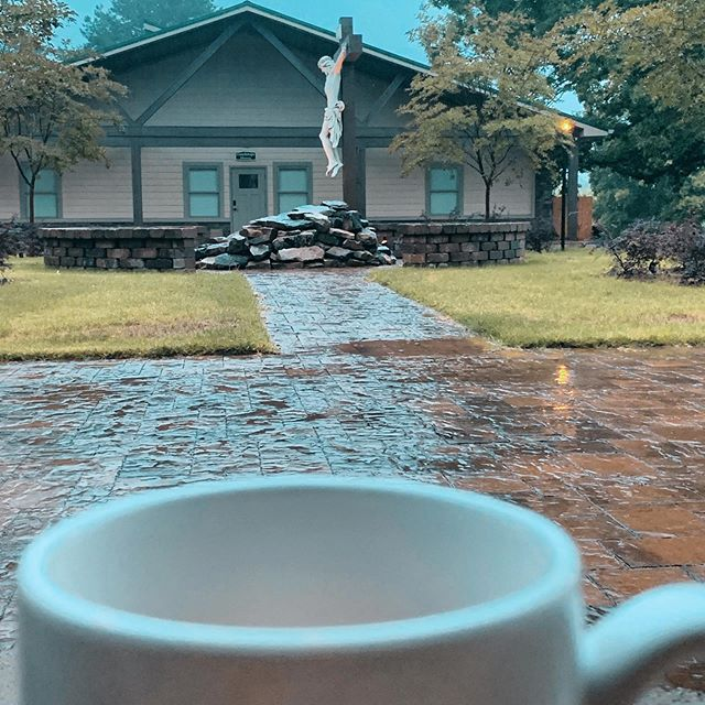 Morning prayer with morning rain, morning coffee, all the same. I pray your day is turning out to be as wonderful as mine! . . . #morningprayer #coffee #catholic #crucifix