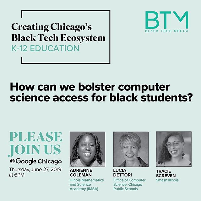 Our latest research has surfaced significant opportunities to improve year-round access to computer science for Chicago's Black youth. Come join us to hear from these dynamic leaders who are working on high impact solutions for Black students. Link in bio. #CHISBTE19 #SmartBTE