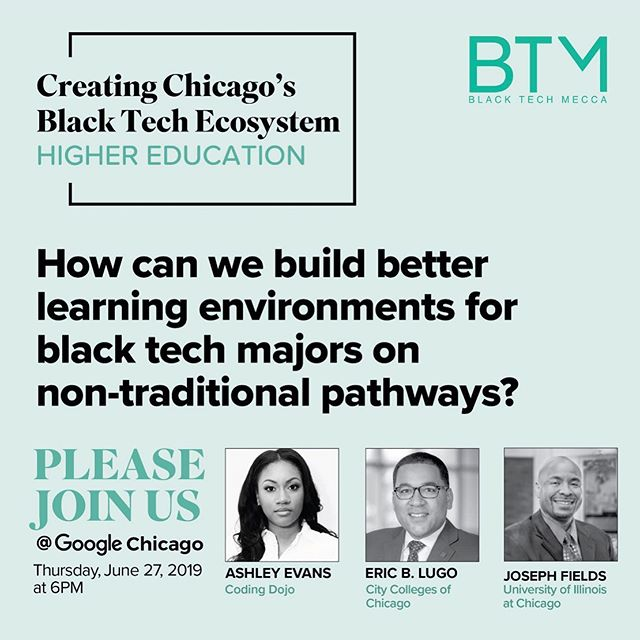 Findings from our new Chicago Smart Black Tech Ecosystem report share actionable steps that can be taken to improve tech training accessibility, support, and placement. Join us this Thursday to learn more about how these leaders are leveraging both traditional and non-traditional training pathways to create more favorable learning environments for Black students. Link in bio. #CHISBTE19 #SmartBTE