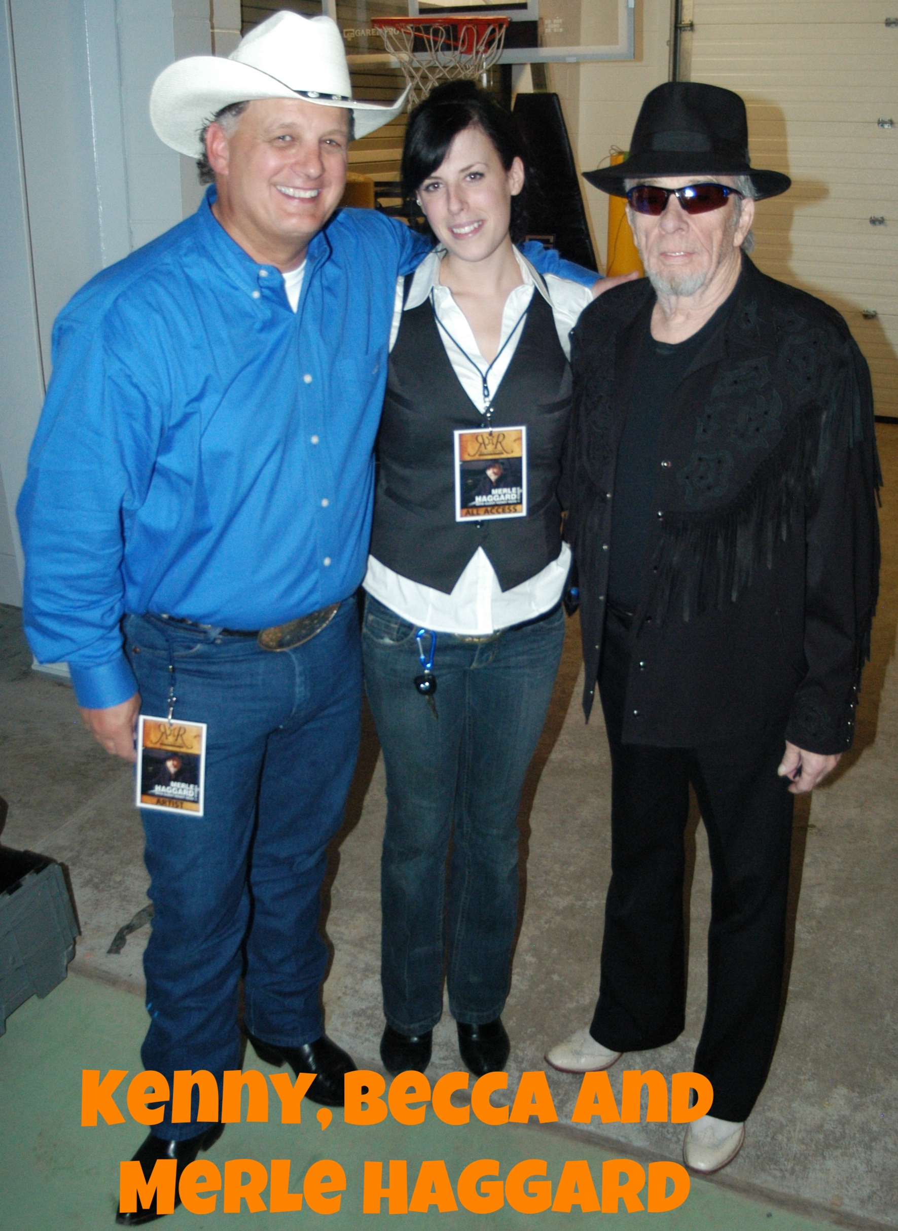 Kenny, Becca and Merle Haggard back stage