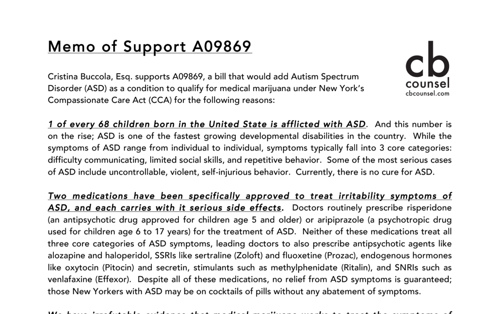 memo of support for NY A09869 to add autism spectrum disorder as a condition qualifying for medical cannabis in nys.png