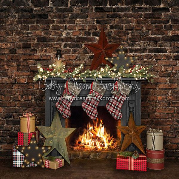 Christmas fireplace backdrop rental YEG