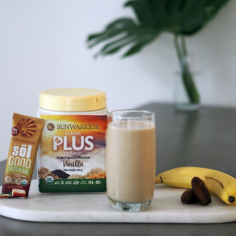 The healthy salted caramel smoothie using Sunwarrior Classic Plus Organic Plant Based Protein