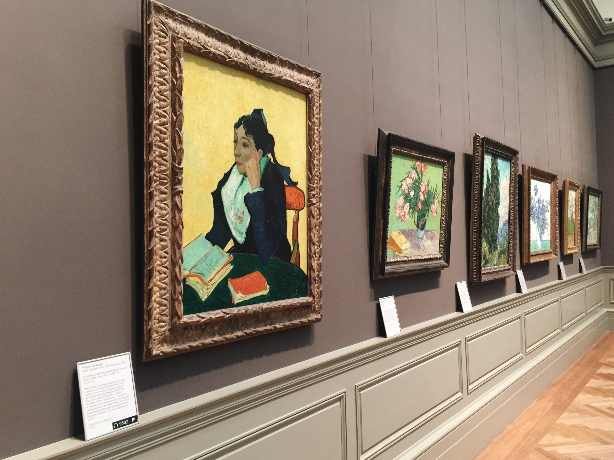 One wall of Vincent Van Gogh's works