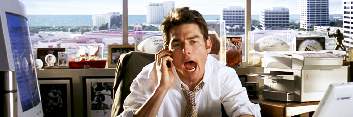 Kids, this movie is called Jerry Maguire. Go to a Flea Market and find it in the dollar bin, it's a classic.