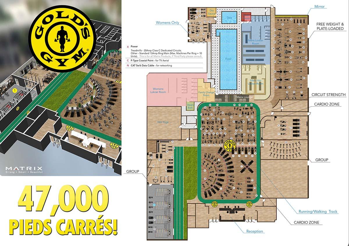 golds gym laval 47,000 pieds carrés!