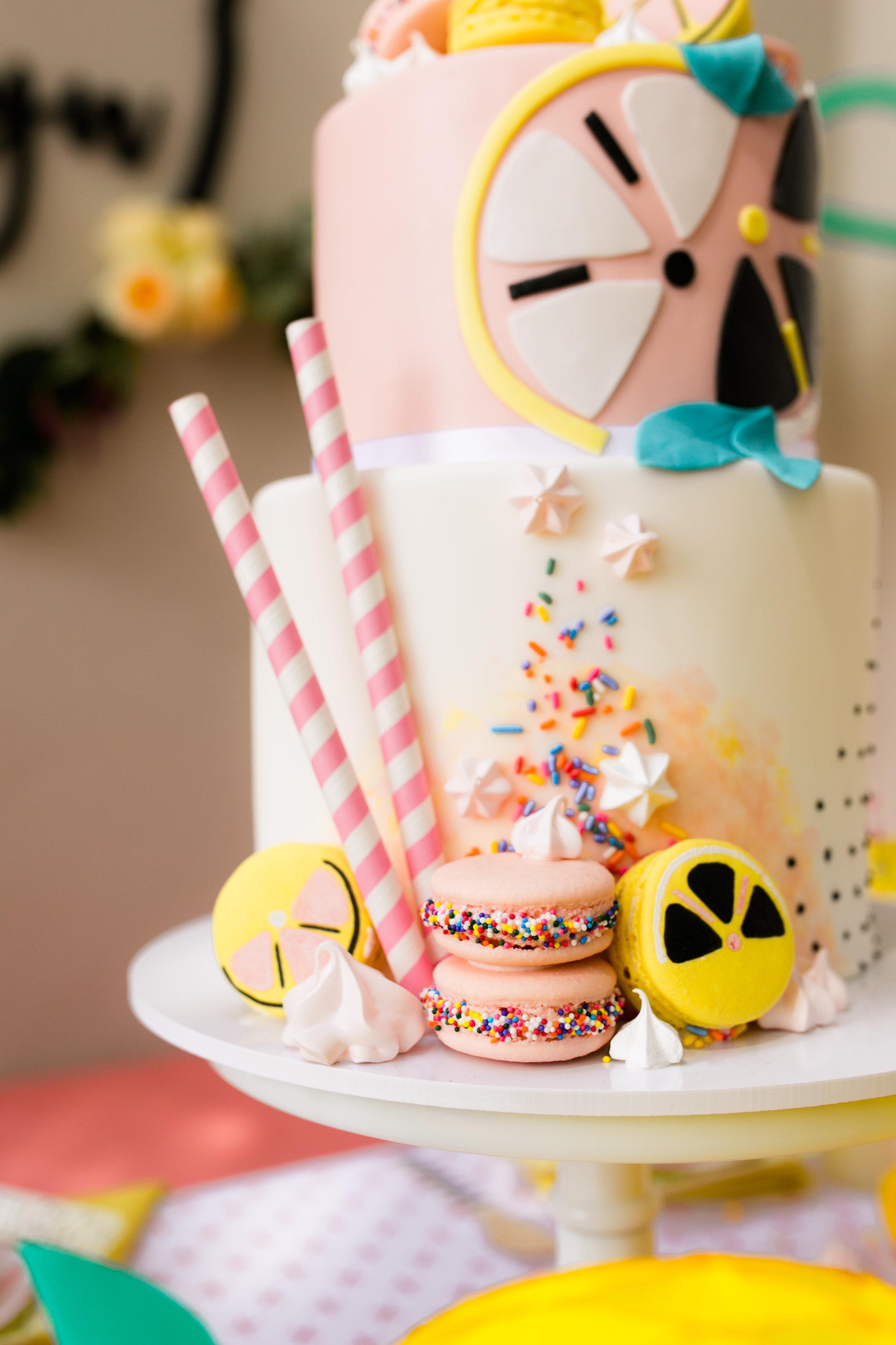 Lemonade Birthday Party - Jenny Wenny Cakes Custom Birthday Cake