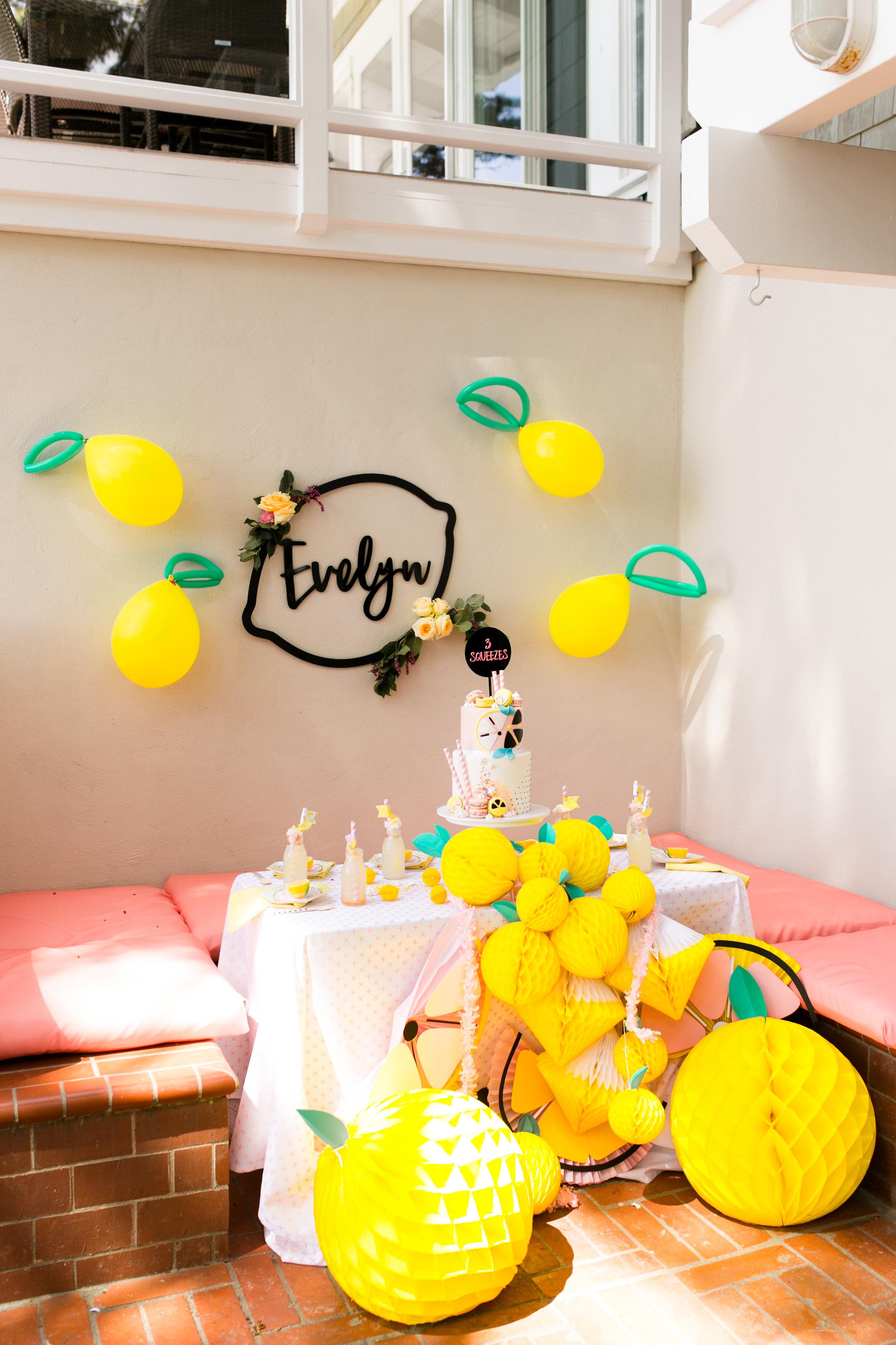 Lemonade Kids Birthday Party - Kids tabletop Decor and Backdrop for lemons