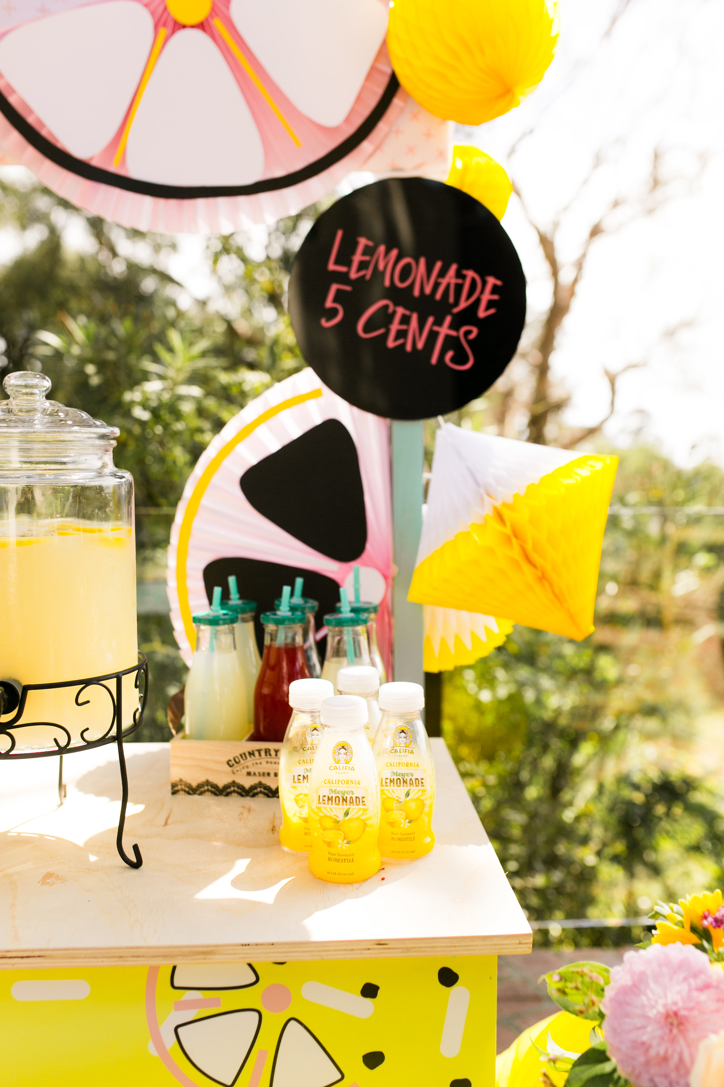 Lemonade Stand Kids Birthday Party Decor - DIY Bunting Lemon fans