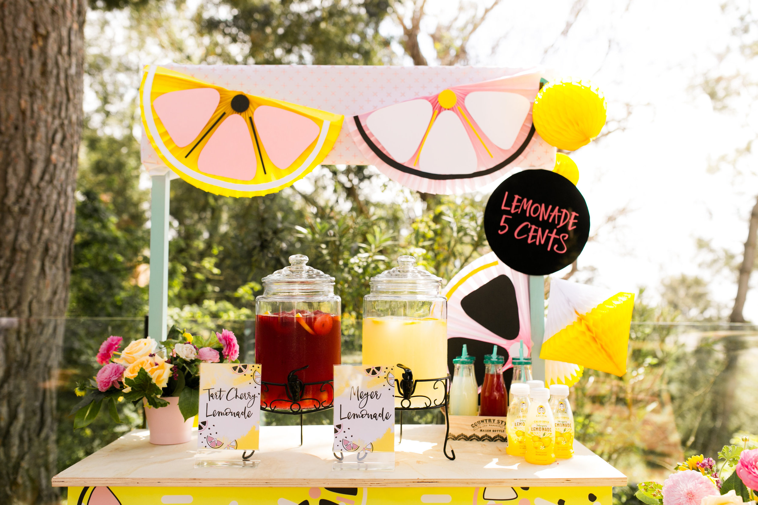 Lemonade Stand Kids Birthday Party - Custom Lemon DIY Bunting fans