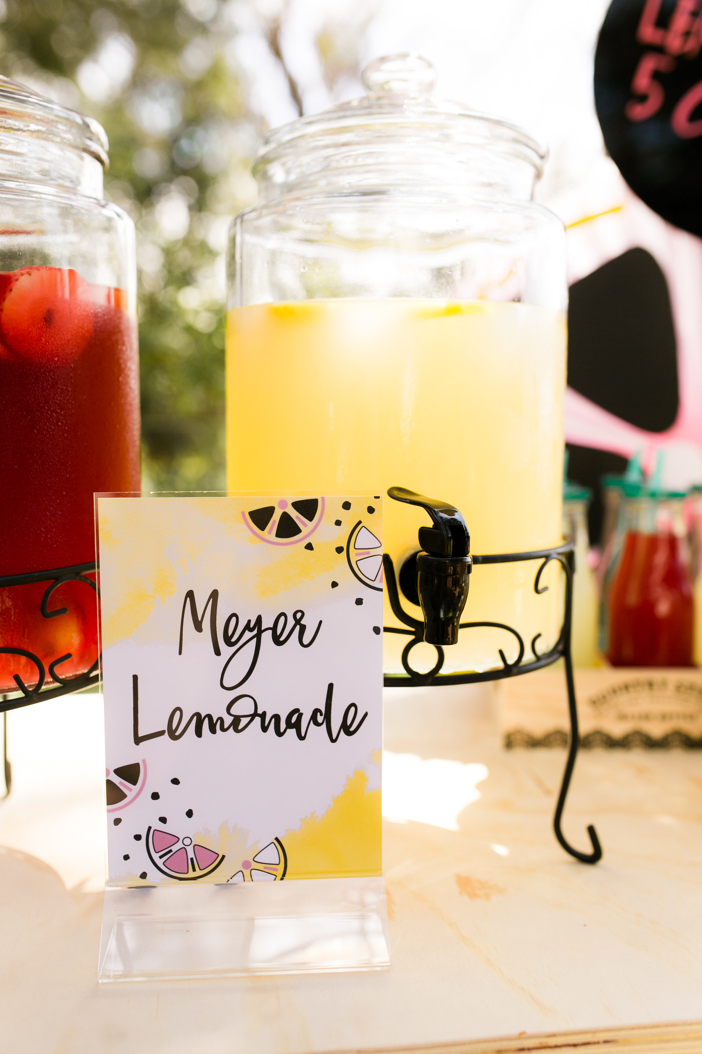 Lemonade Stand Birthday Party - Califia Farm Meyers Lemonade with Custom Signs by Midnight Confetti