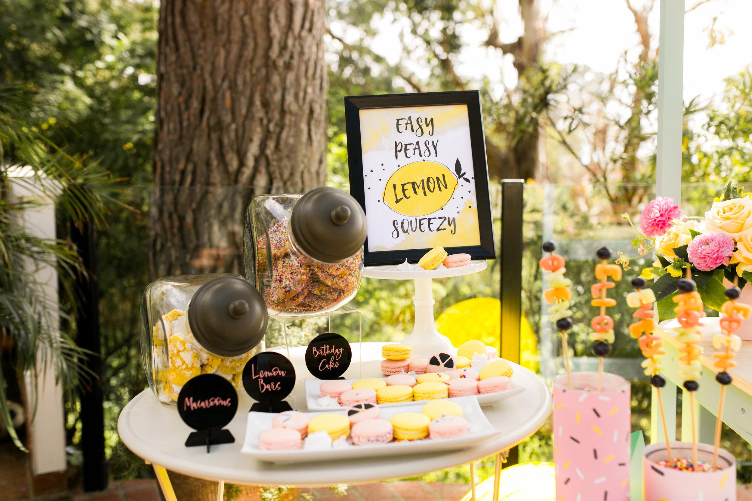 Lemonade Stand Kids Birthday Party Dessert Table