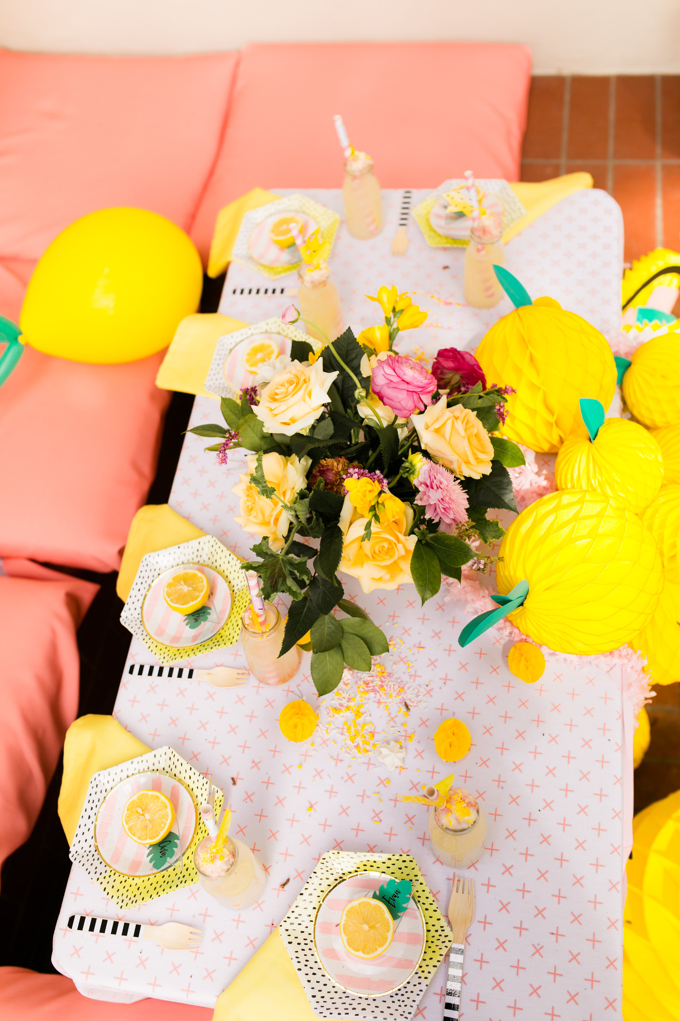 Lemonade Kids Birthday Party - Kids Table Decor and Florals by Blooms By Breesa Lee