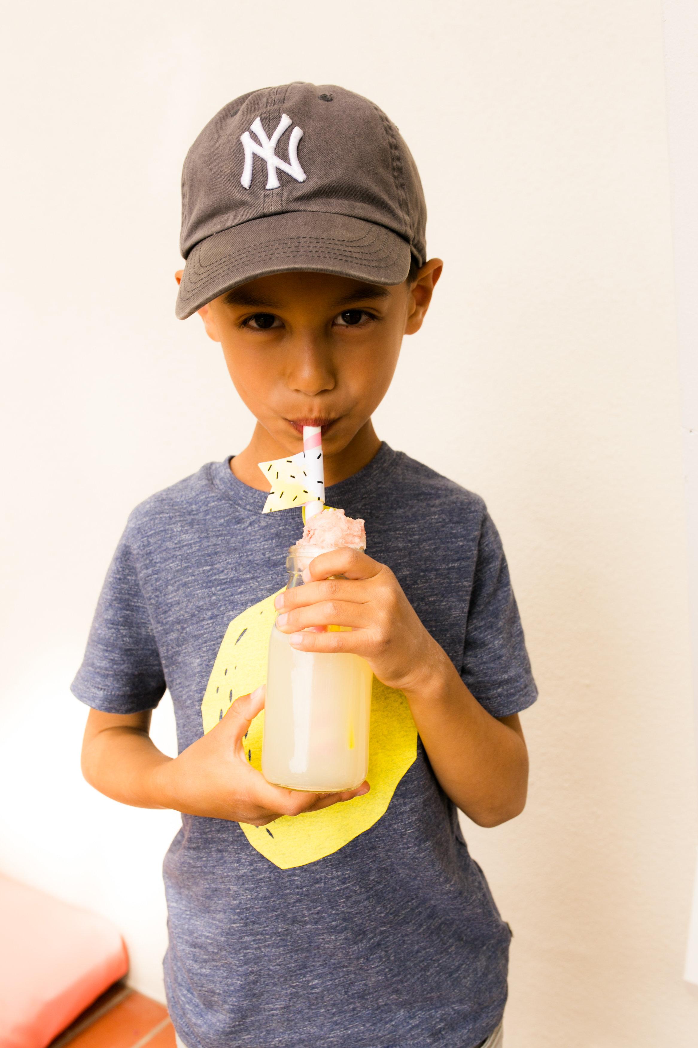Lemonade Kids Birthday Party - Little boy and Lemonade